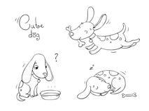 与骨头的滑稽的动画片狗 免版税库存照片