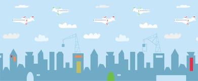 与高大厦,建筑的都市风景动画片 免版税图库摄影