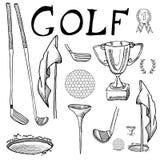 与高尔夫俱乐部,球、发球区域、孔与旗子和得奖的杯子的高尔夫球体育手拉的剪影集合传染媒介例证,画乱画el 免版税图库摄影