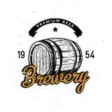 与高详细的木纬向条花的优质啤酒标志 库存例证