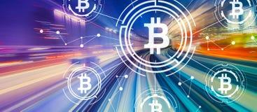 与高速行动迷离的Bitcoin题材 库存图片