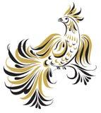 与高雅书法设计的鸟 免版税库存图片