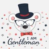 与高顶丝质礼帽、玻璃和蝶形领结的逗人喜爱的小的绅士熊 免版税库存图片