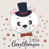 与高顶丝质礼帽和蝶形领结的逗人喜爱的小的绅士熊 库存照片