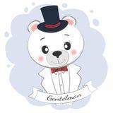 与高顶丝质礼帽和蝶形领结的逗人喜爱的小的绅士熊 免版税库存图片
