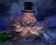 与高顶丝质礼帽、髭和单片眼镜的章鱼 库存图片