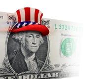 与高顶丝质礼帽的美元比尔 免版税库存图片