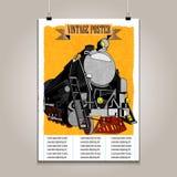 与高细节火车的葡萄酒海报 皇族释放例证