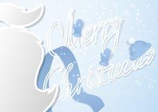 与髭的一张花梢圣诞卡和在一个现代平的设计的手工制造轮廓字体 库存图片