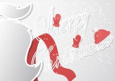 与髭的一张花梢圣诞卡和在一个现代平的设计的手工制造轮廓字体 免版税库存照片