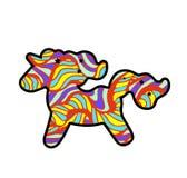 与鬃毛和垫铁的正面五颜六色的剪影独角兽 在彩虹背景的独角兽贴纸 独角兽贴纸,补丁徽章 向量例证