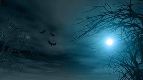 与鬼的树的万圣夜背景 免版税图库摄影