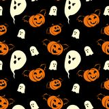 与鬼魂和南瓜吸血鬼的万圣夜无缝的样式设计 向量例证