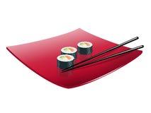 与鱼、鲕梨和乳酪的寿司 向量 图库摄影
