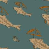 与鱼和伞的无缝的样式 库存照片