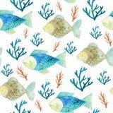 与鱼和海草的水彩无缝的样式 库存例证