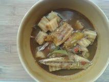 与鱼和菜(帮会Tai Pla)的咖喱 免版税库存图片