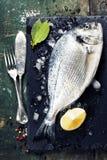 与鱼和酒的食物背景 免版税库存照片