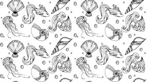 与鱼和贝壳的无缝的海洋纹理 免版税库存照片