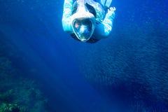 与鱼学校的女子游泳 潜航在正面面具的女孩 与鱼殖民地水中照片的废气管 库存图片