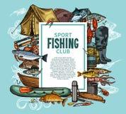 与鱼捕获和渔夫工具的渔海报 向量例证