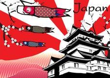 与鱼旗子和富士mountainc的日本城堡 免版税图库摄影