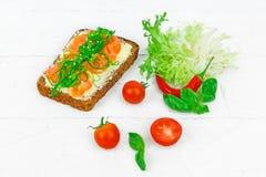 与鱼的丹麦单片三明治 免版税库存图片