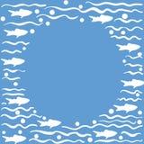 与鱼的圆的模板,蓝色 库存图片