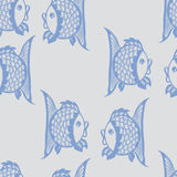 与鱼的无缝的图表样式 库存图片