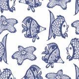与鱼的无缝的图表样式 免版税库存图片