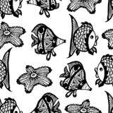 与鱼的无缝的图表样式 免版税图库摄影