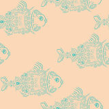与鱼的时髦的无缝的样式 库存图片