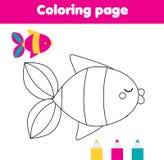 与鱼的着色页 图画哄骗小孩的活动 向量例证
