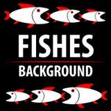与鱼的背景 动画片平的字符 蓝色云彩图象彩虹天空向量 库存照片
