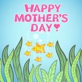 与鱼的贺卡设计为母亲节。 皇族释放例证