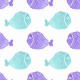 与鱼的水彩无缝的样式在白色 库存图片