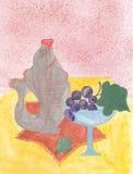 与鱼的水彩静物画 玻璃葡萄 免版税库存图片