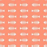 与鱼骨白色剪影的无缝的样式在桃红色背景的 向量例证