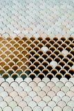 与鱼鳞纹理的建筑滤网细节 库存图片