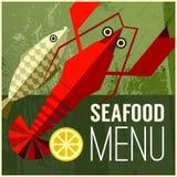与鱼,柠檬,龙虾的抽象传染媒介菜单海报 免版税图库摄影