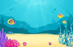 与鱼,沙子,海草,珍珠,水母,珊瑚,海星的水下的动画片背景 海洋海洋生活,逗人喜爱的设计 向量例证