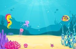与鱼,沙子,海草,珍珠,水母,珊瑚,海星,章鱼,海马的水下的动画片背景 海洋海 库存图片