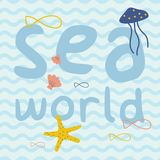 与鱼,海星,水母,壳印刷品海报的海世界 库存图片