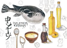 与鱼fugu的烹饪剪影 库存图片