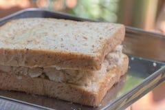 与鲜美甜猪肉绣花丝绒的特写镜头可口泰国早餐健康新鲜面包 图库摄影