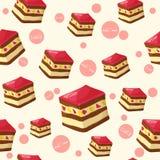 与鲜美蛋糕和果冻的五颜六色的无缝的样式在动画片样式 也corel凹道例证向量 点心汇集 向量例证