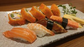 与鲜鱼shashimi,日本食物混合maki寿司盘 免版税库存图片