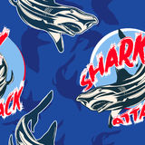 与鲨鱼的传染媒介无缝的样式 免版税库存图片