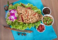 与鲶鱼菜单的泰国辣沙拉 库存照片