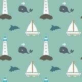 与鲸鱼灯塔小船和海豚的动画片葡萄酒减速火箭的海无缝的样式 免版税库存图片